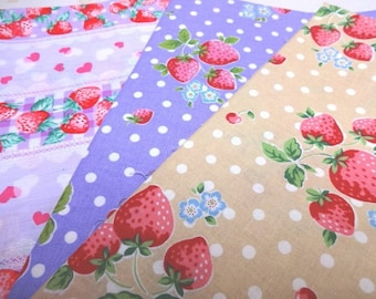 SALE Japanese Fabric Strawberry 1/2yard 3Pices