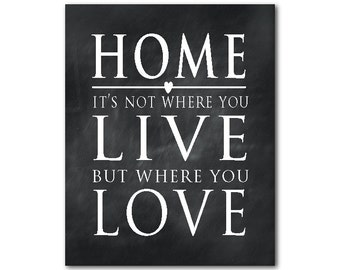 Home Definition - Home it's not where you live but where you love - Housewarming gift - room decor - Typography Word Art inspirational print