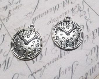 Clock Charms Pendants Antiqued Silver Steampunk Charms Wholesale Charms Pendants 50 pieces