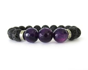 Unisex Alzheimer Awareness Charity Bracelet with Black Lava Rock and Faceted Purple Agate Beads - Gemstone Bracelet - Unisex Jewelry - U1116
