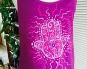 Pink Hamsa Tank Top, Purple Batik Top, Organic Cotton Tank Top, Hamsa Hand, Boho Tank Top, Bright Pink Top, Loose Fit, Hippie Gift for Her