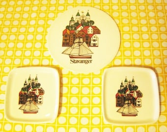 Set of 3 - Figgjo Norway Stavanger Wall Plaques, Coasters / Small Dishes / Trivet - Boat, Cathedral, Houses - Norwegian Coast