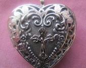 Music Box Locket with Heart and Cross Silver Necklace Choose your song