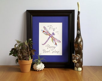 Dragonfly Artwork, Gift for Her, Fine Art Print, Dragonfly Inspirational Art, Encouraging Quote, Inspirational Quotes, Affordable Art