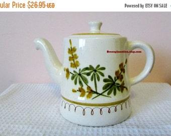 CIJ Tea Pot, Coffee Pot, Stangl Pottery, HandPainted Golden Blossom Pattern, Brown Yellow, Made in USA, Trenton NJ - BreezyJunction.etsy.com