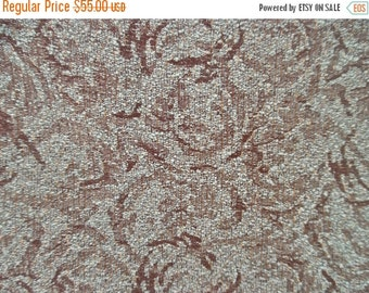 ON SALE Eames Era, Mid-Century,  Vintage, Loop Texture, Upholstery Fabric, Aqua, Brown, with Gold Thread, 3.33 Yards