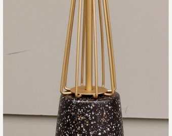 ON SALE Vintage, Atomic, Ceramic, Table Lamp, Mid Century Modern, Lamp, Lighting, 1960's, Black, Gold