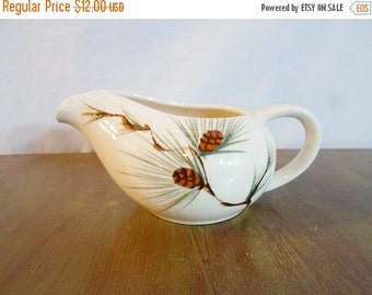 ON SALE Vintage Canyon Pine Creamer Pitcher by Kanedai Hand Painted Japan Mid Century Modern Rustic Cottage Chic