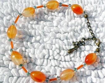Burnt Orange Beaded Anklet-AB010