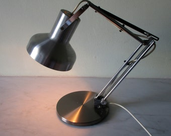 Vintage French Mid Century Chrome & Steel Adjustable Table Lamp -Architect's Lamp- Unlimited Extension possibilities - Useful Chic Light