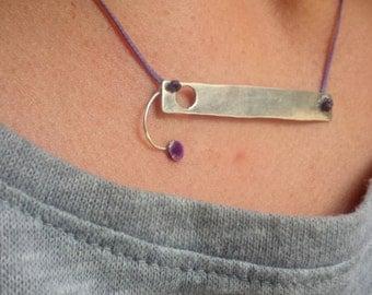 Handmade necklace / Purple Circle necklace / Sterling silver necklace / Minimal necklace / Purple necklace / Everyday necklace / Purple