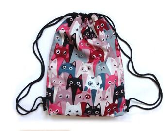 Draw string bag gym bag cats kitties