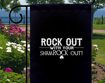Rock Out Shamrock New Small Garden Flag Gifts Events St. Paddys Bar Pub