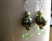 Unique Colorful African Beads, Creamy Green Pearly Glass Beads, and Green Lampwork Beaded Earrings
