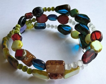 Colorful Czech Glass Memory Wire Bracelet: Blue, Pink, Olive green, White, Yellow, Orange, Red