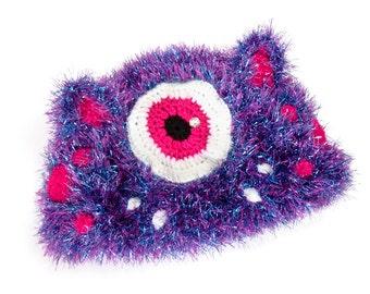 Fuzzy Monster Kitty Hat. Cyclops Bear Beanie. Pink Turquoise Cat Ear Hat. Glittery Kawaii Furry Beanie. Eyeball Hat. Spooky Cute Winter Hat.