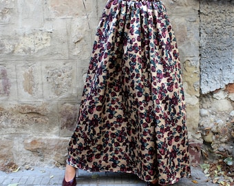 Floral Maxi Skirt/ Long Skirt/ A line skirt/ Full Skirt/ High Waisted Skirt/ Maxi Skirt/ Plus Size Skirt/ Skirt with pockets/ 04A.176