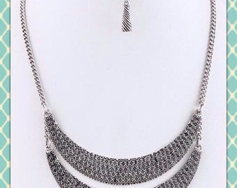 Antique Silver Layered Crescent Necklace