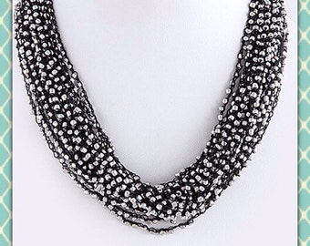 Black Crocheted necklace with silver seed beads