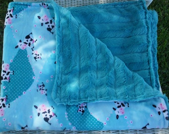 Minky Blanket - Turquoise Cow - Cuddle Rose Minky or Cuddle Chinchilla on Reverse