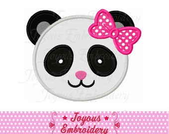 Instant Download Girl Panda Face Applique Machine Embroidery Design NO:2054