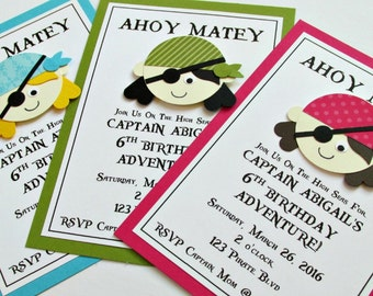 Girls Pirate Birthday Invitation