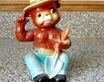 Vintage Smokey Bear Bank Norcrest Japan Rare Smokey Holding Shovel Ceramic 1962