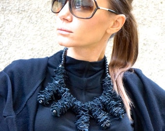 NEW Collection Fall Black Extravagant Leather and Wooden Beads Necklace   by AAKASHA A16357