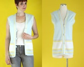 Vintage 70s Vest - Long Vest - Striped Vest - Sleeveless Boho Vest - Light Blue Vest - Pastel Blue Button Front Vest - Size Medium / Large