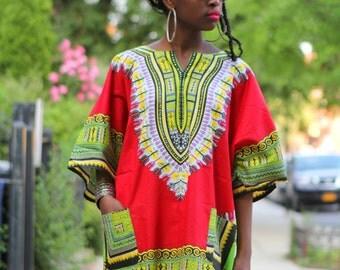 Dashiki RED African Shirt Tunic Shirt Blouse Dress- Unisex - One Size
