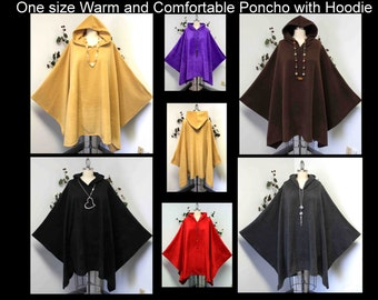 New Absolutely Versatile Travelers Full Size Hooded Poncho in warm and cozy Fleece fabric, Hoodie