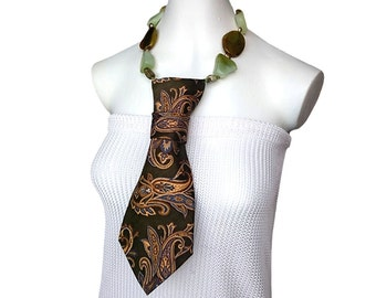 Necktie necklace SO SERIOUS olive green paisley womens necktie fashion necktie feminine accessories