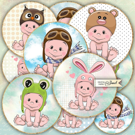 Little Baby - 2.5 inch circles - set of 12 - digital collage sheet - pocket mirrors, tags, scrapbooking, cupcake toppers