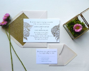 Gold Glitter Hydrangeas Wedding Invitation with Envelope Liner and Blush Envelopes- Style 072