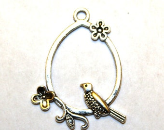 2 Antique Silver Bird and Flowers on a Teardrop Perch Charm/Pendant
