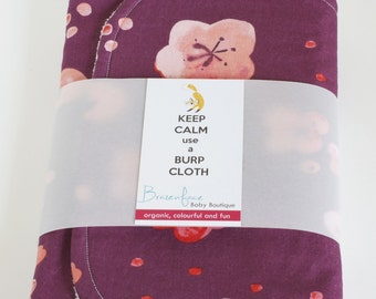 Organic Burp Cloth, Set of Two, Cherry Blossoms and Brush Strokes