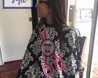 Hair Salon Custom Cape - Cosmetology Cape - Hair Cutting Cape - Personalized Barber Cape - Hair Stylist Cape - Design Your Own Salon Cape
