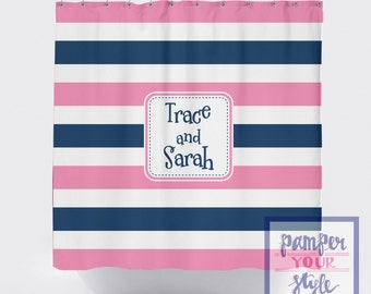 striped shower curtain pink and blue monogrammed shower curtain jack and jill shower