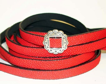 1Yd. RED CAVIARE textured  Flat Leather//Embossed 10MM Genuine Flat Leather Cord//1Yd. 10MM X 2MM Flat Leather Cording