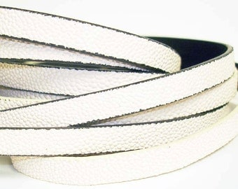 1Yd. IVORY CAVIARE textured  Flat Leather//Embossed 10MM Genuine Flat Leather Cord//1Yd. 10MM X 2MM Flat Leather Cording
