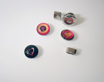 4pc. Black, Golden, and Tangerine mixed design snap knobs with Platinum tone plated chunky snap connector //32mmx19mmx12mm snap connector