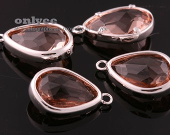 2pcs-17mmX10.5mBright Rhodium Faceted NEW Style Tear Drop With Glass pendants-Peach(M395S-E)