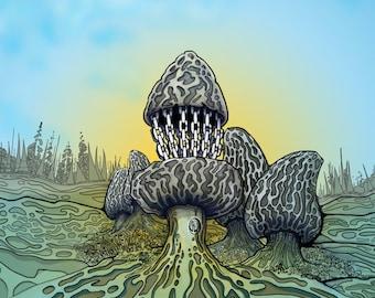 Disc golf art - Morel Mushroom Disc Golf Basket.  Disc Golf Art Print.  Disc Golf Illustration.