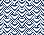 One Roll of Scalloped Navy Wallpaper