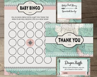 Travel Theme Baby Shower Package • Vintage Map • printables