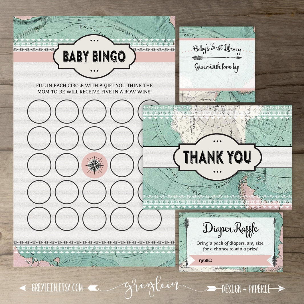 travel theme baby shower package vintage map diy