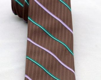 Vintage Men's Brown Striped Tie/ Retro Brown Green Purple Striped Necktie