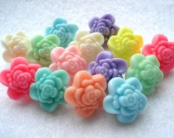 17mm 3D Flower Shape Buttons Pack of 12 Mixed Colours Shank Flower Buttons A171