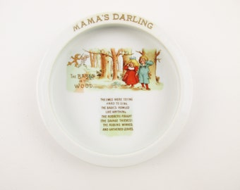 Vintage Ironstone Baby Bowl 'Mama's Darling' - Made in Bavaria - Heavy and Sturdy With Deep Sides - 'The Babes in the Wood' Bowl