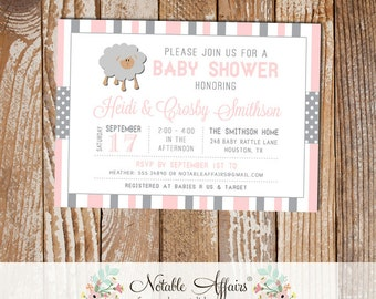 Gray and Light Pink Sheep Stripes and Polka Dots Baby Shower invitation - choose your colors - Lamb Baby Shower